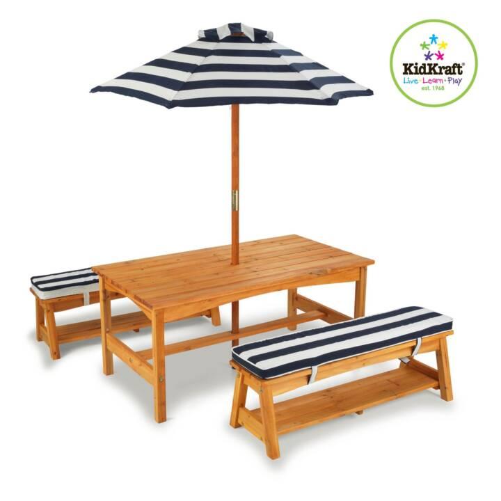 KIDKRAFT Kindersitzgruppe Gartentisch mit Bänke und Schirm blau
