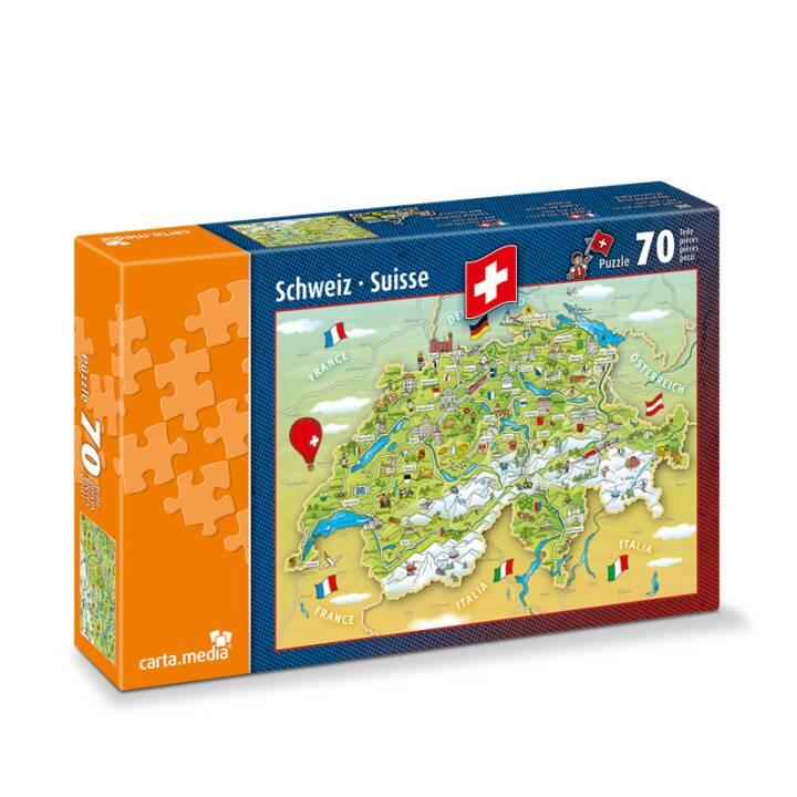 CARTA.MEDIA Carte de la Suisse illustrée Puzzle