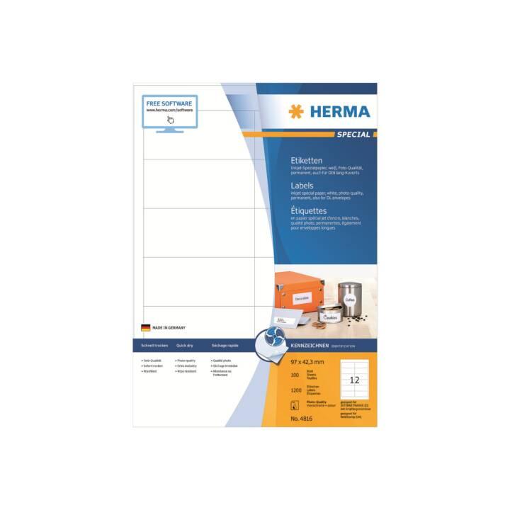 Etiquettes jet d'encre HERMA A4 97x42,3 mm 1200 pièces