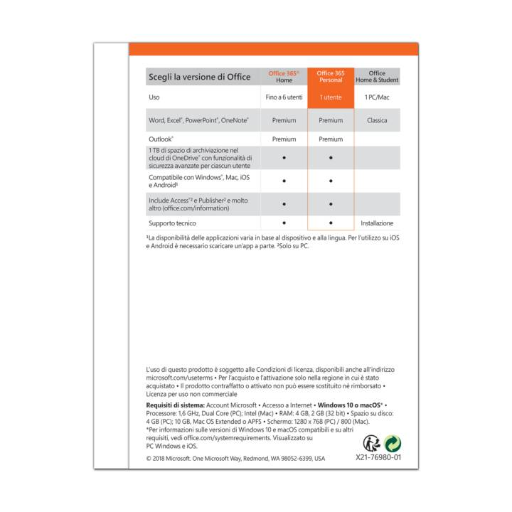 MICROSOFT Office 365 Personal (Licence, Italien)