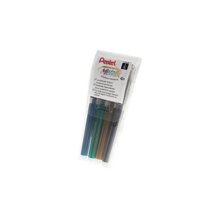 PENTEL Gel Roller Hybrid Gel Grip bleu, vert, or, argent