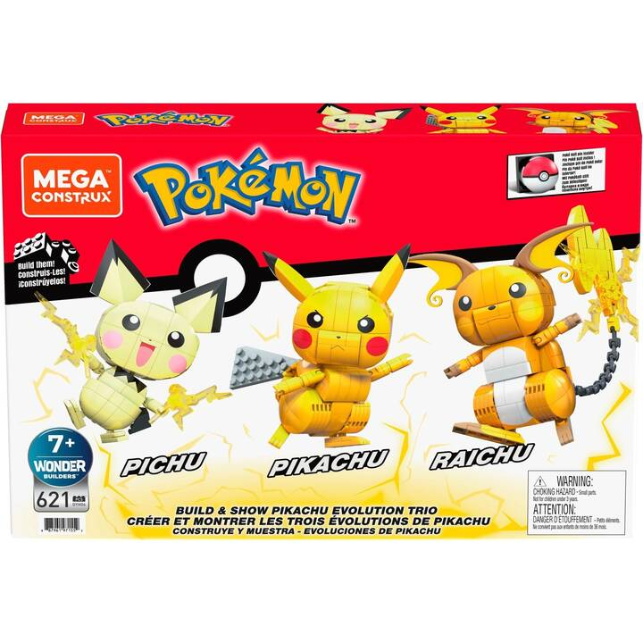 MATTEL Pokémon Mega Construx - Pichu, Pikachu, Raichu (Giallo)
