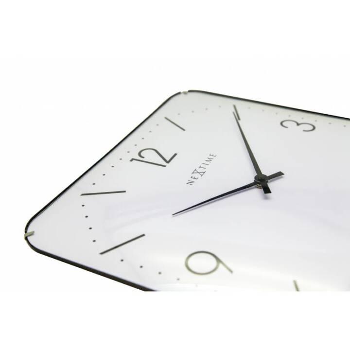 NEXTIME Horloge murale Basic Square Blanc 35 cm