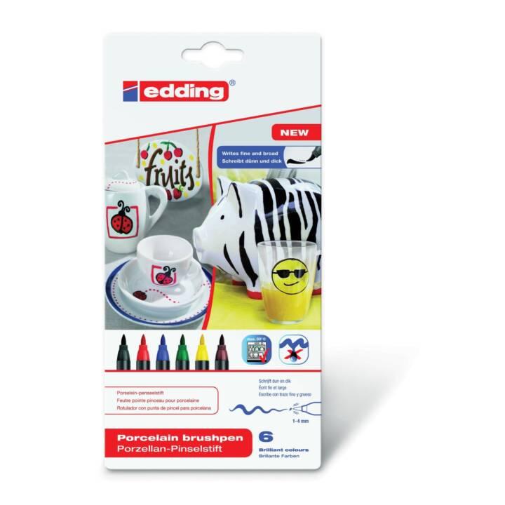 EDDING Permanent Marker 4200 Family (Schwarz, Blau, Braun, Grün, Rot, Gelb, 6 Stück)