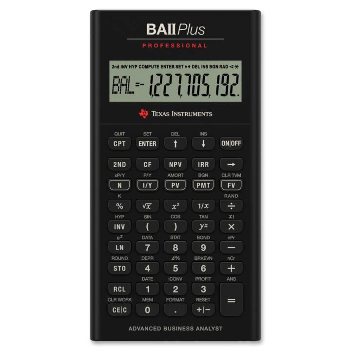 TEXAS INSTRUMENTS TI-BA II+ Prof. Finanzrechner (Standard Batteriebetrieb)