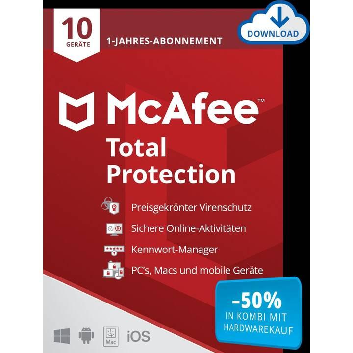 MCAFEE Total Protection (Abo, 10x, 1 Jahr, Deutsch, Französisch, Italienisch)