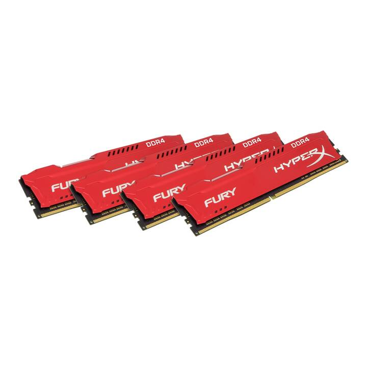 HYPERX Fury Red (4 x 16 GB, DDR4-SDRAM, DIMM 288-Pin)
