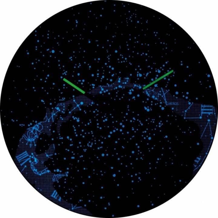 NEXTIME Wanduhr Milky Way Dome Blau 35 cm