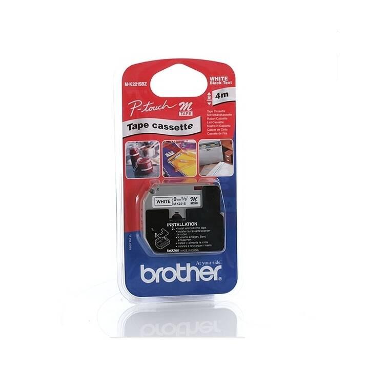 BROTHER P-Touch Cassette du ruban encreur (9 mm x 4 m, Noir / Blanc)