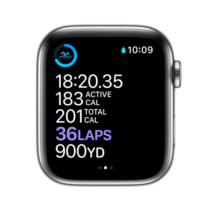 APPLE Watch Series 6 GPS + Cellular (44 mm, Acciaio Inox, Silicone)