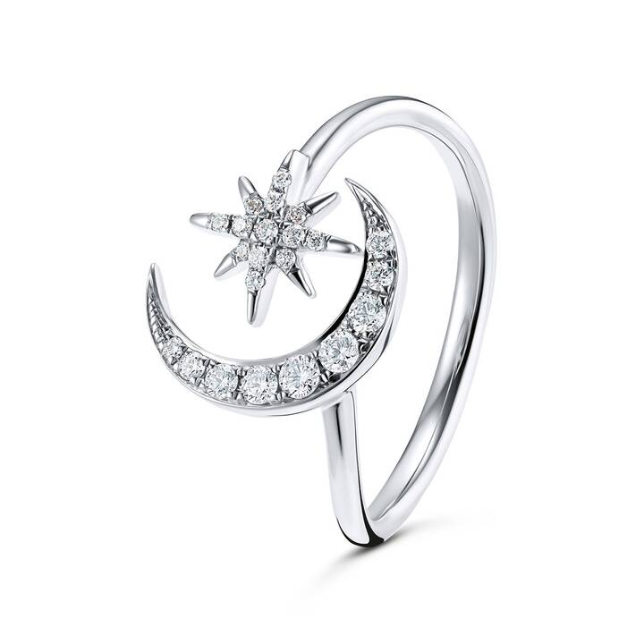 GOLD SPIRIT Moon & Stars Anello dei monili (58, 0.170, Oro bianco, Diamante)