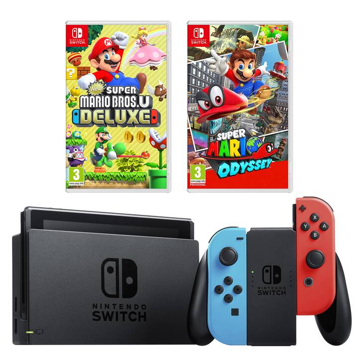 NINTENDO Switch New Neon + Super Mario Odyssey + New Super Mario Bros. U Deluxe 32 GB (Allemand)