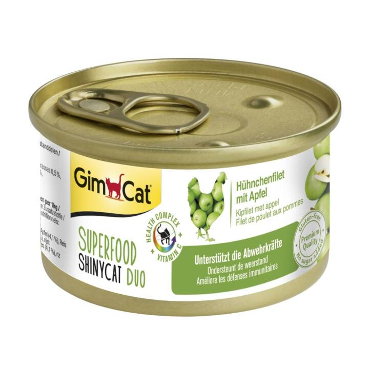 GIMCAT Superfood ShinyCat Duo (Adult, 70 g, Huhn, Apfel)
