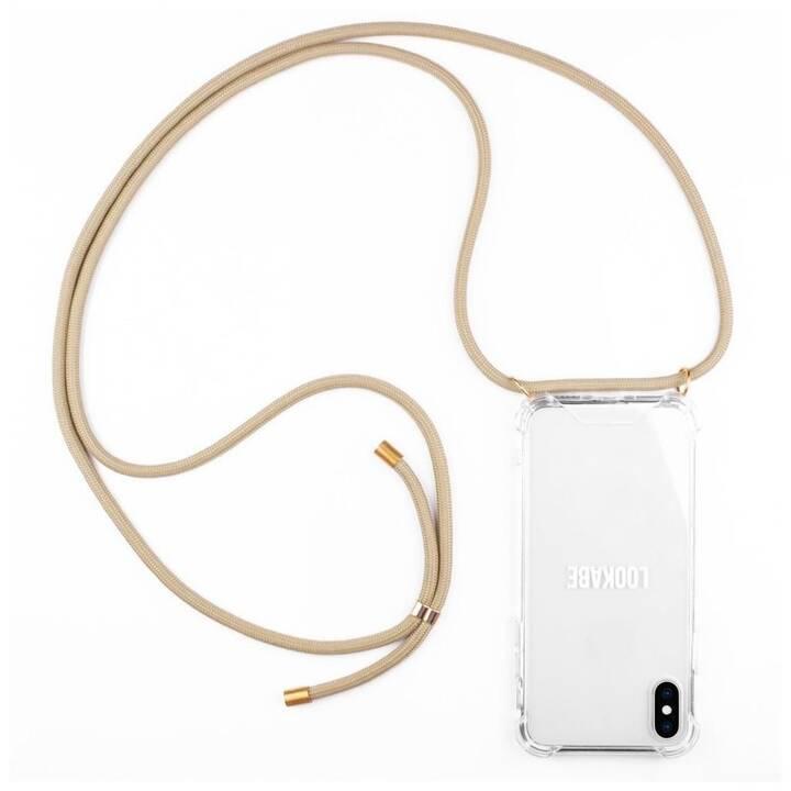 LOOKABE Backcover con cordoncino Necklace (iPhone XR, Transparente, Marrone)