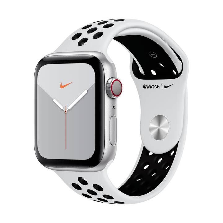 APPLE Watch Nike Series 5 GPS + LTE Silver/Pure Platinum/Black (44 mm, Aluminium, Silicone)