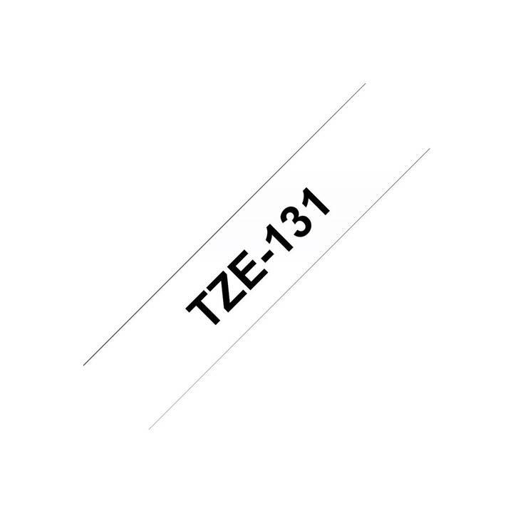 BROTHER TZE131 Schriftband (12 mm x 8 m, Schwarz / Transparent)