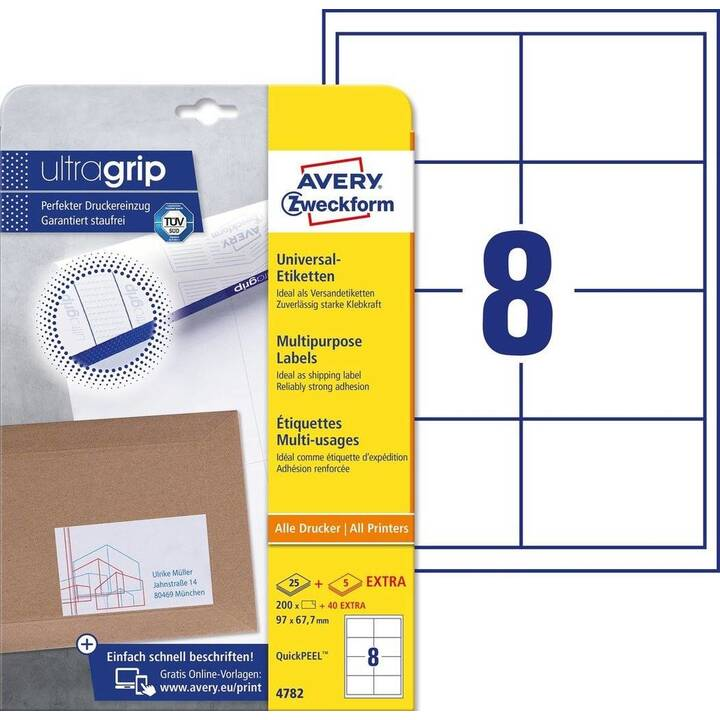 AVERY ZWECKFORM 4782 ultragrip Ettiquettes (A4, 97 x 67.7 mm, 30 feuille)