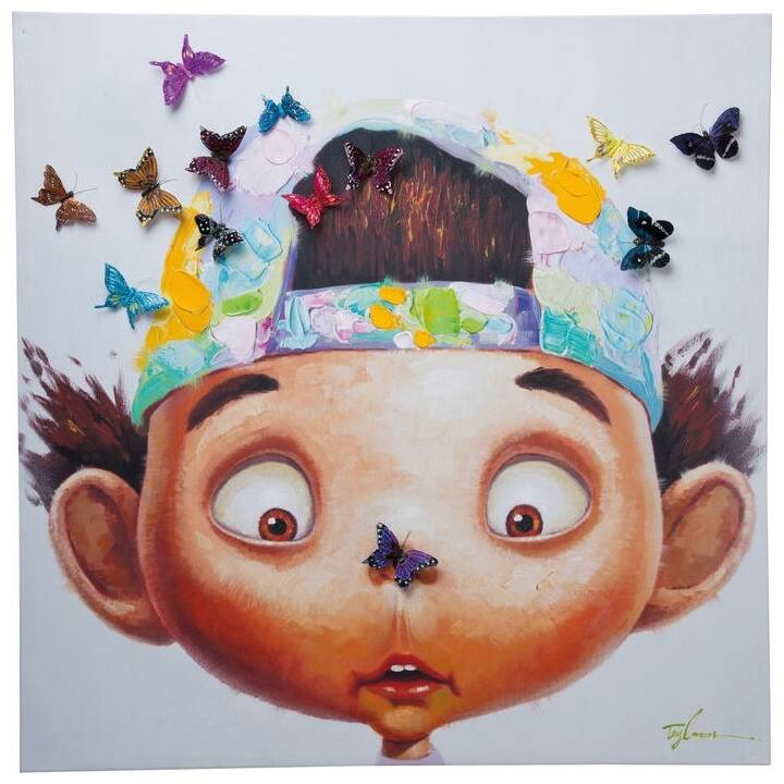 KARE Touched Boy with Butterflies (100 cm x 100 cm)