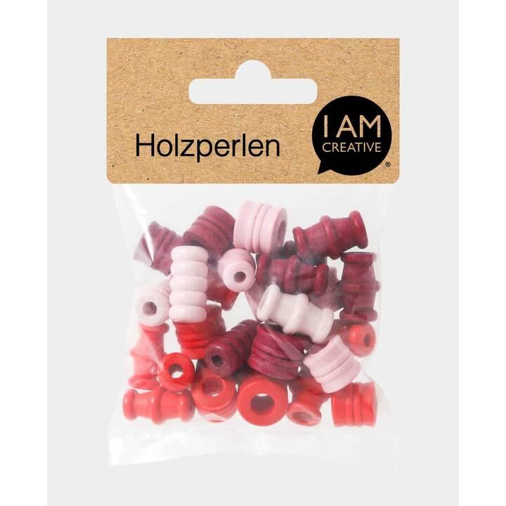 I AM CREATIVE Perlen (Holz, Rot)