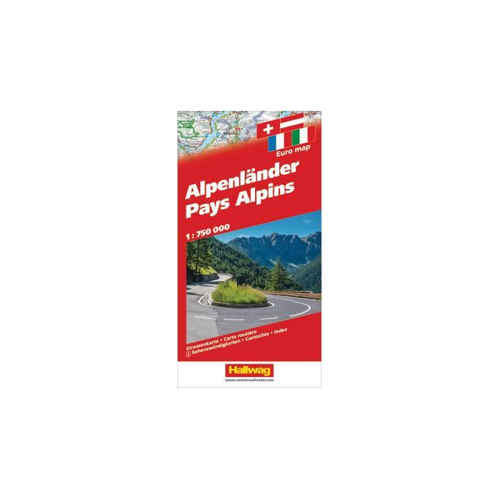 HALLWAG Strassenkarte Alpenländer, 1:700'000