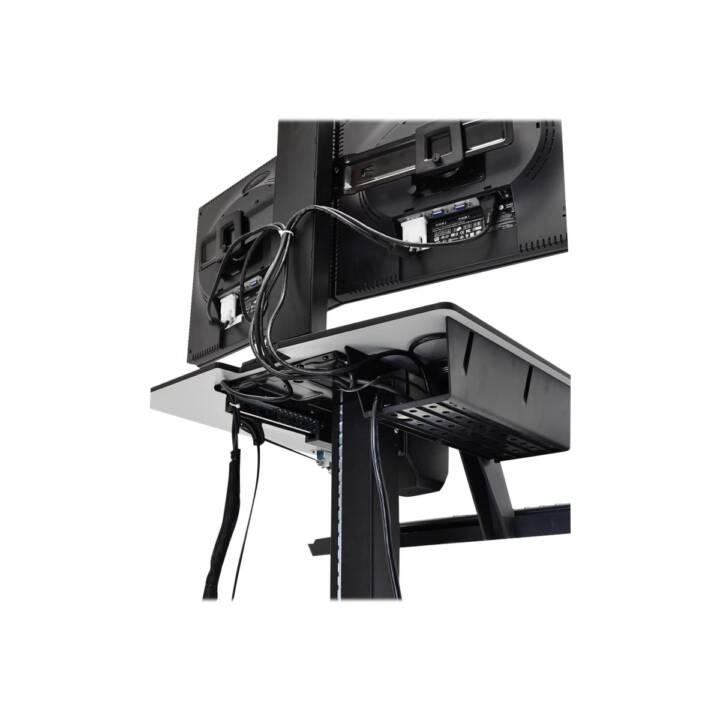 ERGOTRON WorkFit-C, carrello multimediale a doppio supporto da tavolo nero, display a schermo piatto grigio