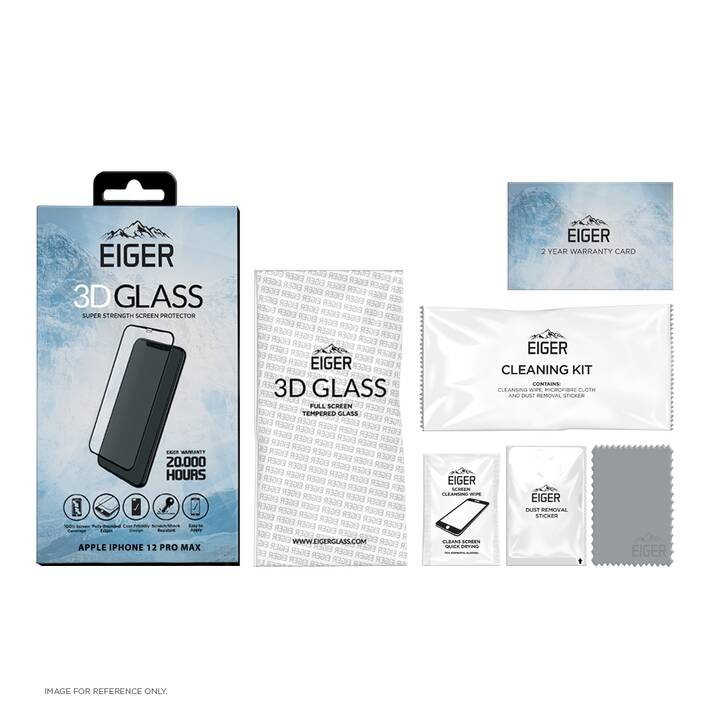EIGER Verre de protection d'écran 3D Glass (Clair, iPhone 12 Pro Max)