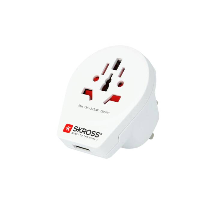 SKROSS Country Adapter World to UK, USB