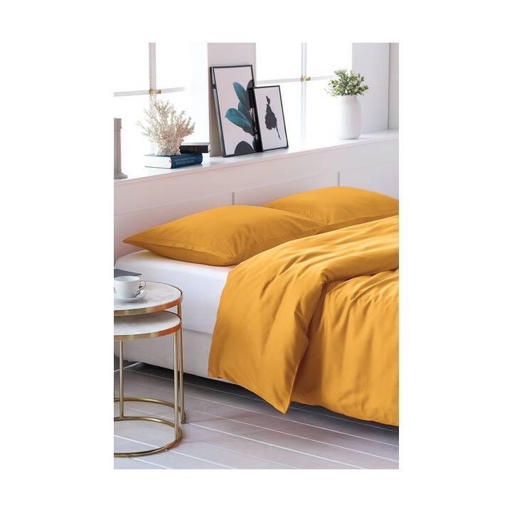 LIVING HOME Copripiumone Uni Satin (240 cm x 240 cm, Arancione)