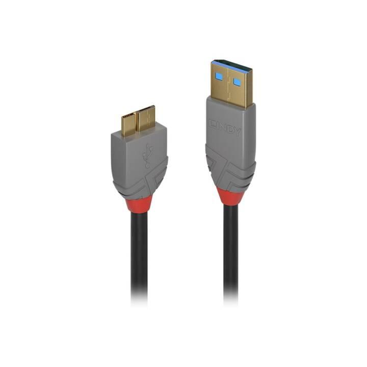 LINDY Anthra Line Câble USB (USB 3.0 Micro Type-B, USB 3.0 Type-A, 50 cm)