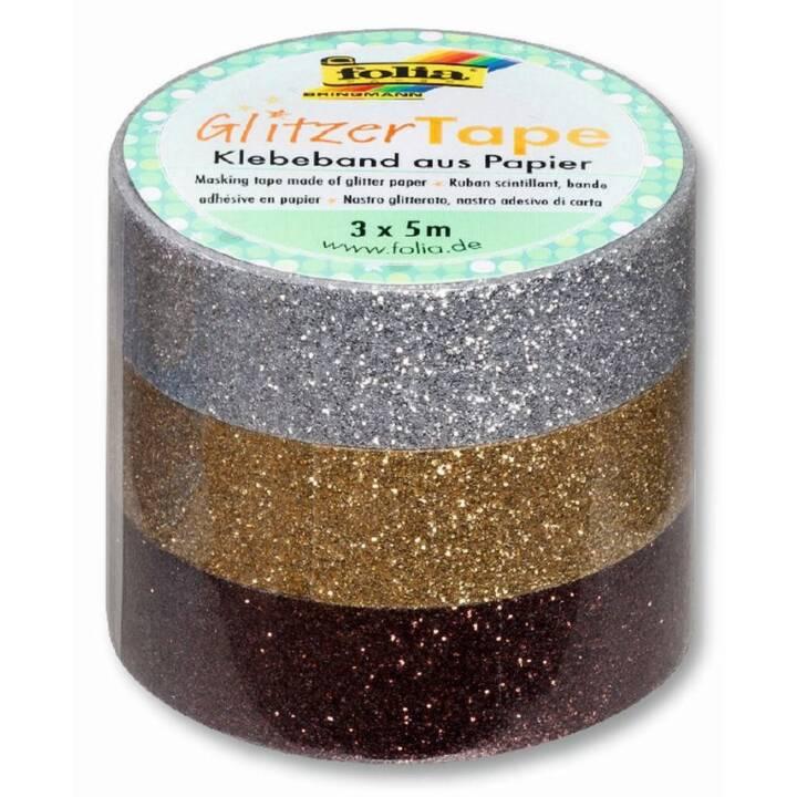 FOLIA Nastro adesivo glitter (Argento, Oro, Marrone, 5 m)