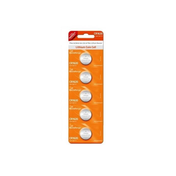 MEDIARANGE Batterie (CR1620, Universell, 5 Stück)