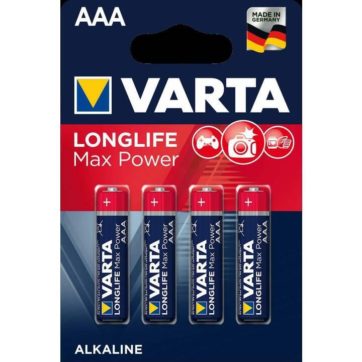 VARTA Longlife Max Power Batterie (AAA / Micro / LR03, Universell, 4 Stück)