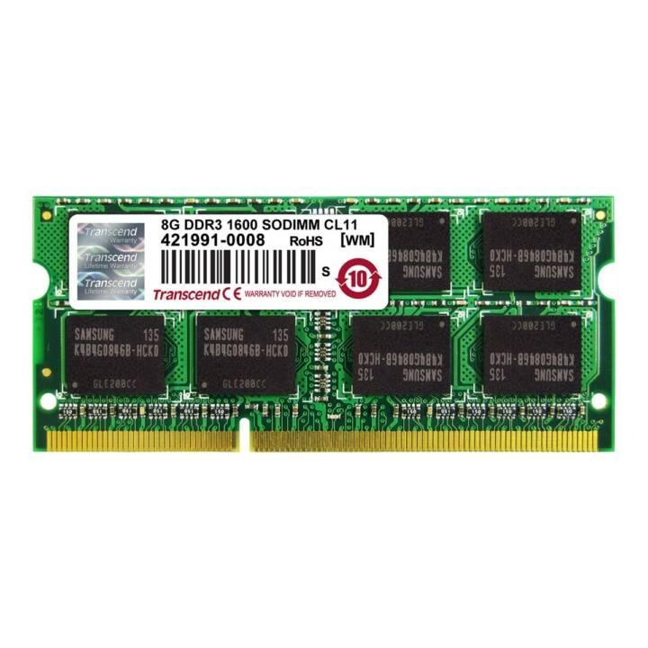 TRANSCEND TS1GSK64V6H, 8 GB, DDR3, SO DIMM 204-PIN