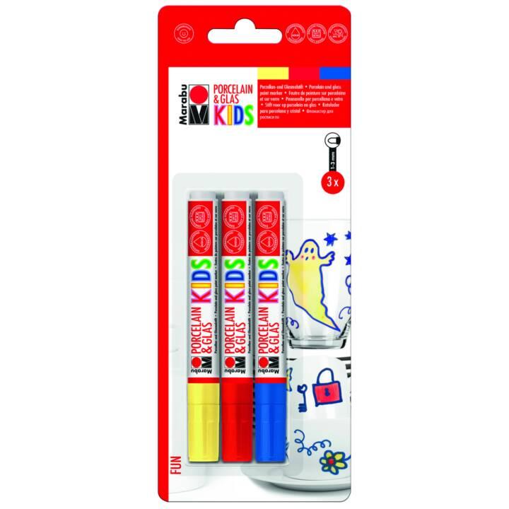 MARABU Marcatore tessile KIDS Fun (Blu, Rosso, Giallo, 3 pezzo)