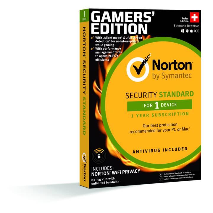 NORTON Security Standard Gamers Edition 1 für 1 (Abbonamento, Tedesco, Francese, Italiano)
