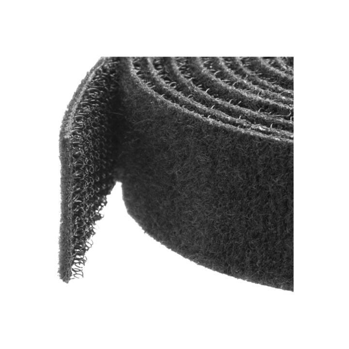STARTECH.COM Attaches de câble à boucles auto-agrippantes en vrac, Rouleau de 3 m, Sangle pour câbles sur mesure, Noir