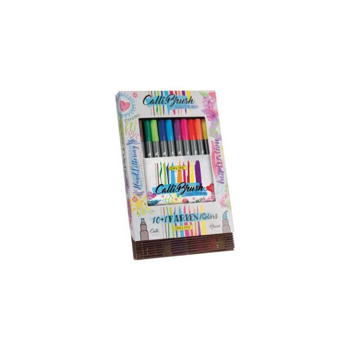 ONLINE Double Tip Penna a fibra (Nero, Marrone, Viola, Rosa, Rosso, Arancione, Giallo, Verde, Blu, 11 pezzo)