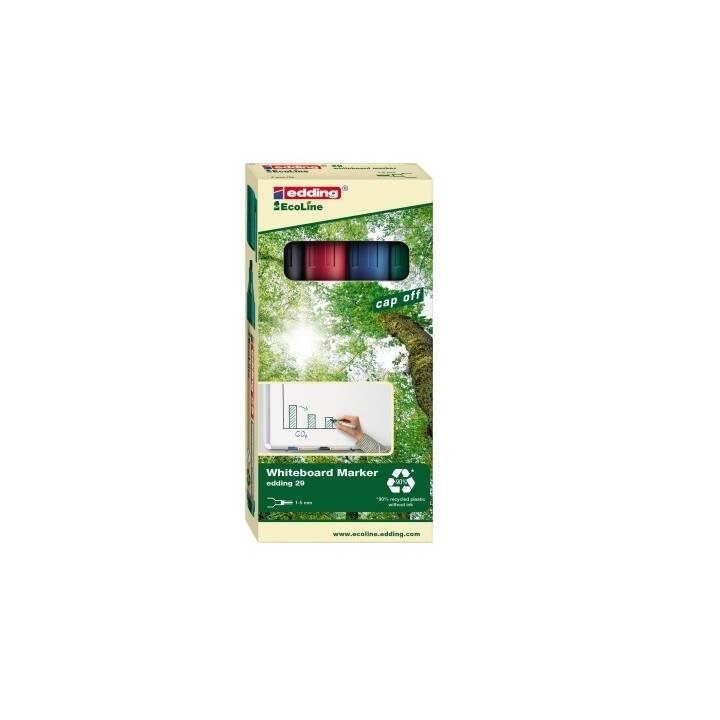 EDDING Marcatori di lavagna EcoLine 29 (Rosso, Blu, Verde, Nero, 4 pezzo)