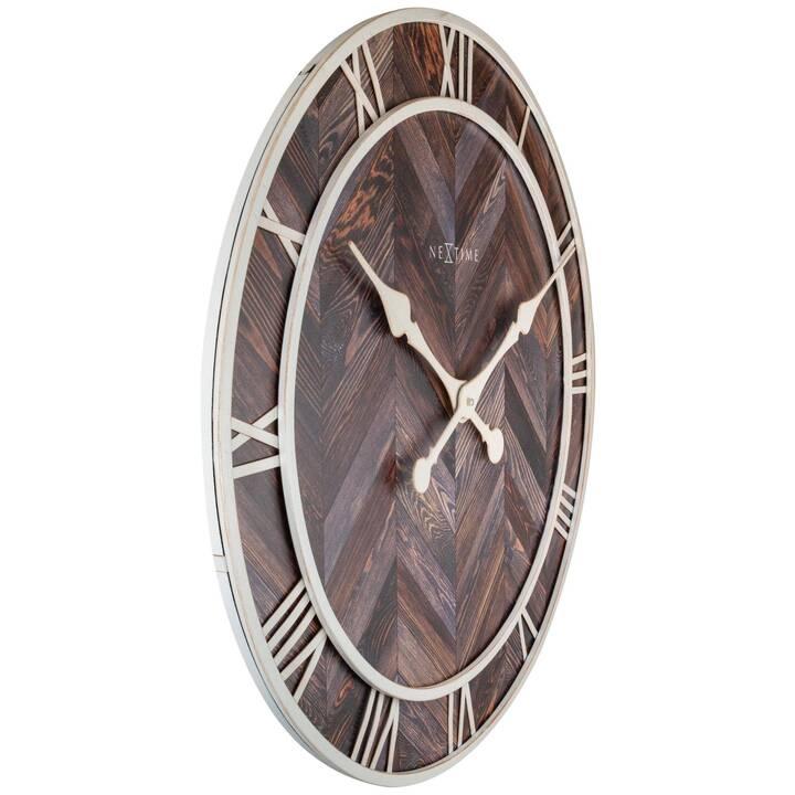 NEXTIME Edge Wood Dome Horloge murale analogique (35 cm, Brun foncé)