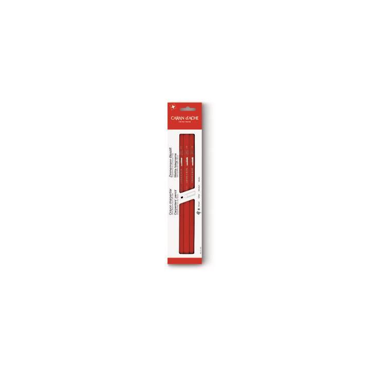 CARAN D'ACHE matita da falegname, 25 cm, rosso, 3 pezzi.