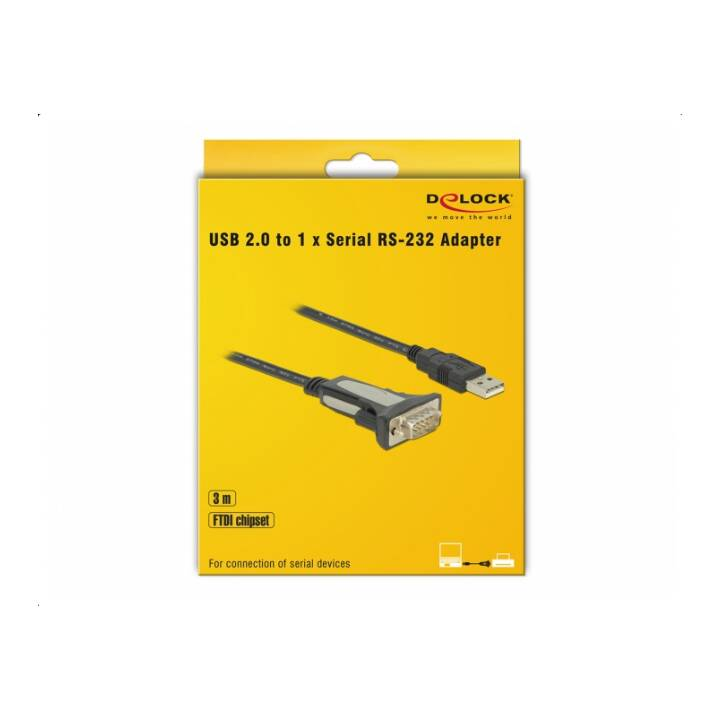 DELOCK Adaptateur (RS-232, Fiche USB 2.0 de type A, 3 m)