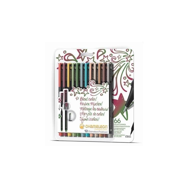 CHAMELEON Penna a fibra (Arancione, Marrone, Verde, Rosso, Giallo, Girgio, 12 pezzo)