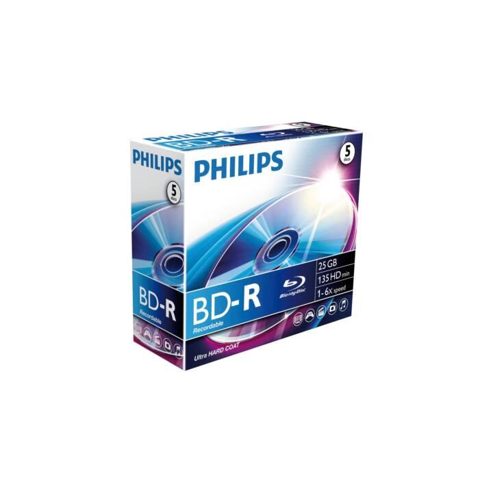 PHILIPS Blu-Ray BD-R SL 25GB 5 Stk.