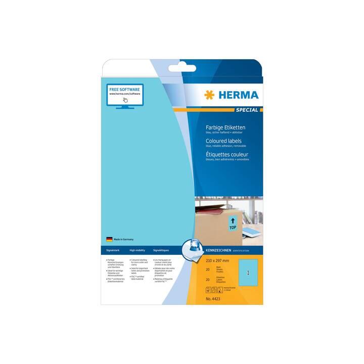 Etiquettes de couleur HERMA A4 210x297 mm 20 pièces