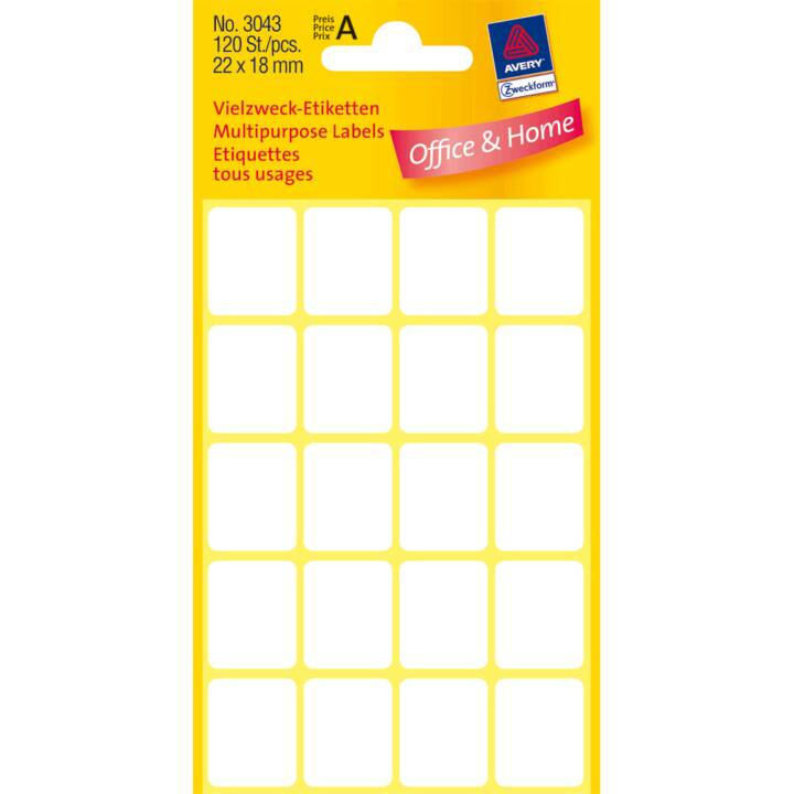 AVERY ZWECKFORM Etiketten (22 x 18 mm, 6 Blatt)