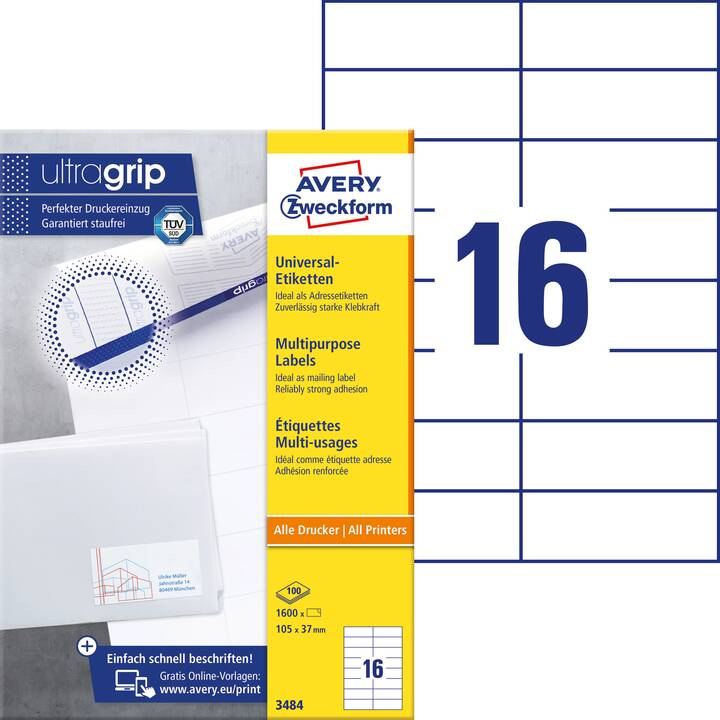 AVERY ZWECKFORM 3484 ultragrip Ettiquettes (A4, 105 x 37 mm, 100 feuille)