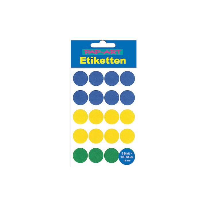 PAP-ART Sticker Etiketten, Rund, Farbig, 18 mm