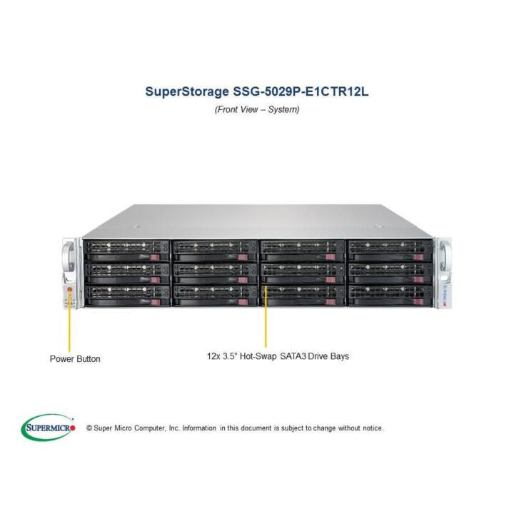 SUPER MICRO SuperStorage Server 5029P-E1CTR12L - montaggio in rack - nessuna CPU - 0 GB - 0 GB - 0 GB