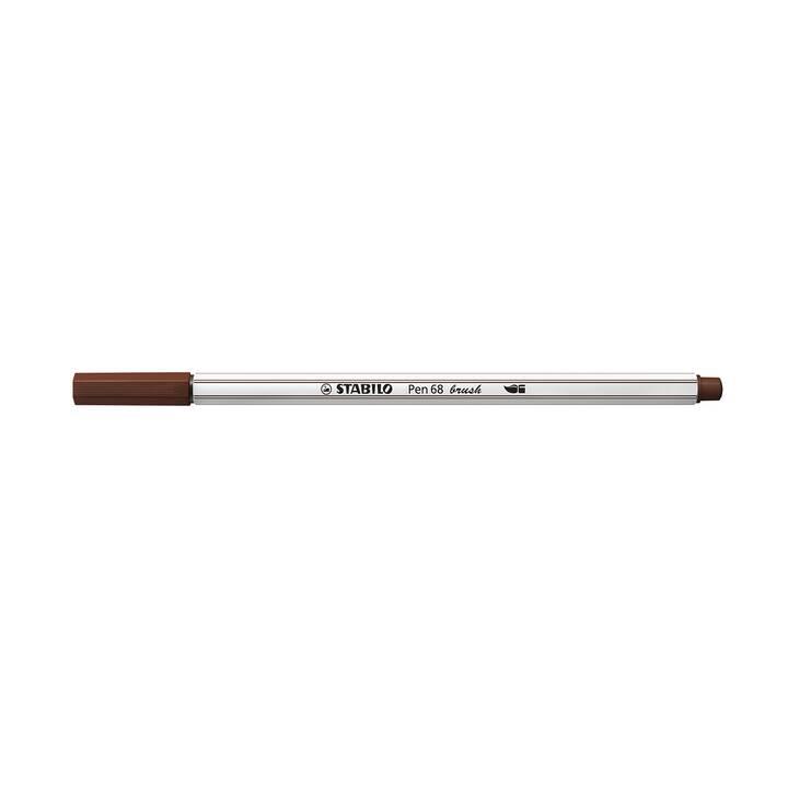 STABILO Pen 68 brush Filzstift (Braun, 1 Stück)