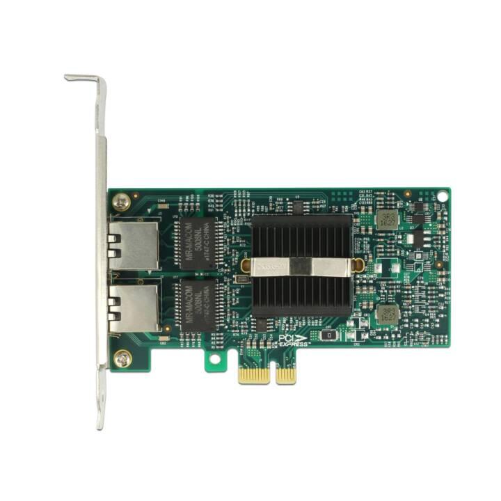 DELOCK Netzwerkkarte (PCI-e, 2x 1 Gb/s, 2x RJ-45)